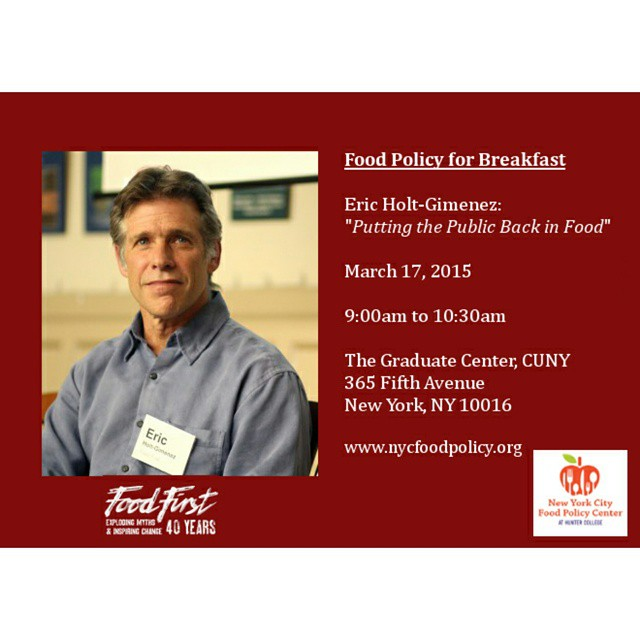 Breakfast seminar with Eric Holt-Giménez #foodpolicy #seminar #cuny #foodfirst #nyc…