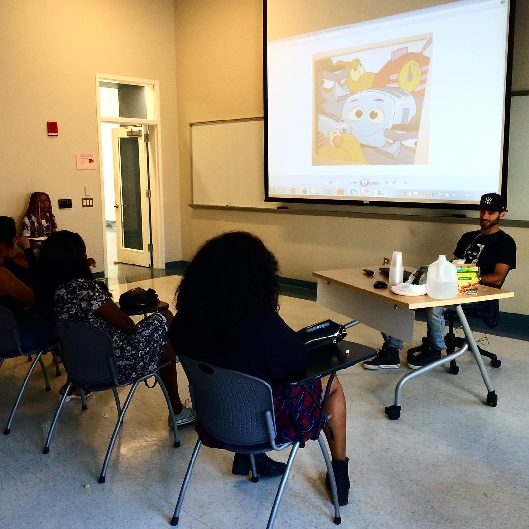 Street artist incarceratedjerkfaces speaking to our Youth Food Educators summerhellip