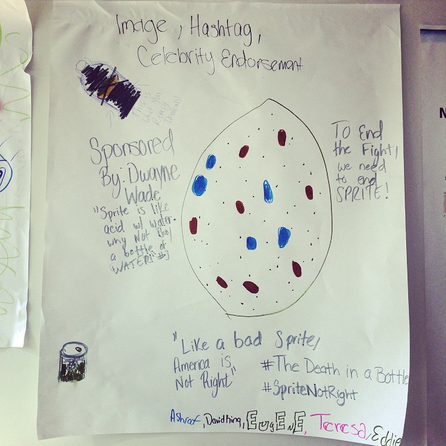 Some of the amazing counter-marketing ideas shared by local East Harlem teens! (that's a rotten lemon) #SpriteNotRight