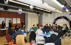 Diana Johnson (NYC Food Policy Center at Hunter College), Lisa Herron (Partnership for a Healthier Manhattan, and Emily Hanlen (Partnership for a Healthier Manhattan) facilitate the inaugural Healthy Food for Upper Manhattan Meeting in collaboration with SCAN-NY on April 20,2015.