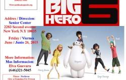 Flyer Pelicula Big Hero 6, junio 26, 2015