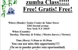 Flyer Zumba clases en 221 E 122 st 4th floor