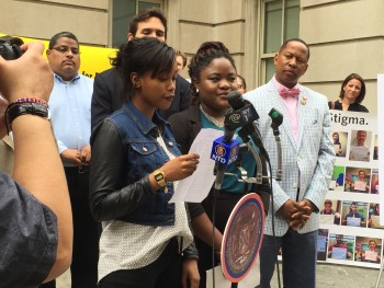 Student leaders at a Lunch 4 Learning Press Conference at Tweed Hall on June 4, 2015