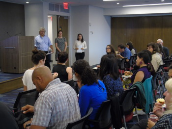 HFUM planning committee members Bill Fink (SCAN-NY), Caitlin Falvey (Mount Sinai), Diana Johnson (NYC Food Policy Center) facilitate 9/21 Healthy Food for Upper Manhattan meeting